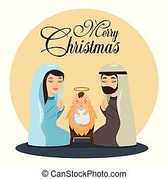 merry christmas nativity scene with holy family