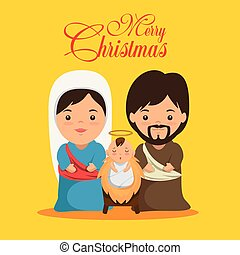 merry christmas nativity scene with holy family