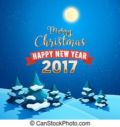 Merry Christmas Nature Landscape with Christmas Trees on the Snow Hills and Moonlight Sky. Winter Holidays Greeting Card. Vector background