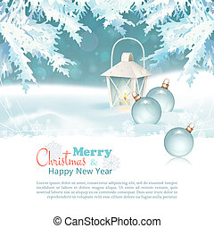 Merry Christmas & New Year Celebration Background with ...