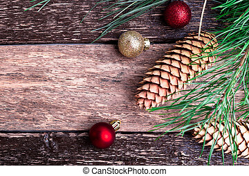 Merry Christmas New Year Composition Rustic Background Flat Lay