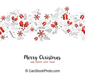 Merry Christmas New Year holiday decoration card