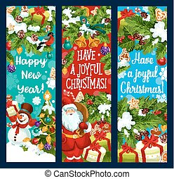 Merry Christmas New Year vector greeting banners