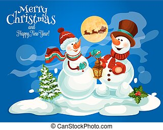 Merry Christmas, New Year vector greeting card