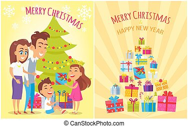 Merry Christmas New Year Vector Illustration