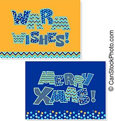 Merry Christmas note. Christmas patchwork style lettering. Cute peasant text letters with traditional patterns in gold and blue color.
