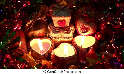 merry christmas of candlelight with gift box