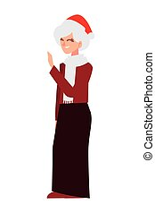 merry christmas old woman with santa hat cartoon