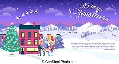 Merry Christmas on City and Blue Sky Background