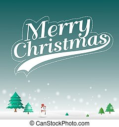 Merry christmas on snow landscape background Vector