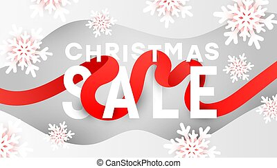 Merry Christmas or Xmas sale banner with 3d white snowflakes, liquid fluid waves on grey background with copy space