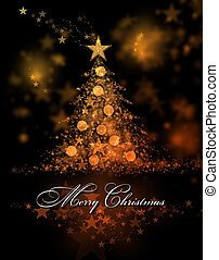 Merry Christmas. Orange background with a christmas tree and Merry Christmas Text
