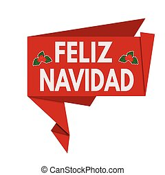 Merry Christmas origami speech bubble on spanish language