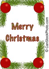 Merry Christmas Ornament Border - A border of pine branches...