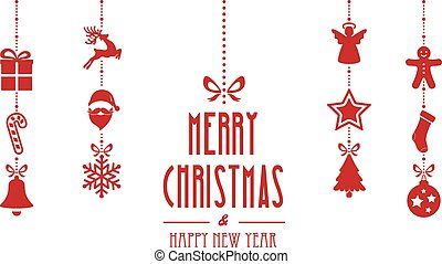 merry christmas ornaments hanging red isolated background