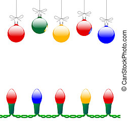 Merry Christmas Ornaments & Light String - Colorful Merry...