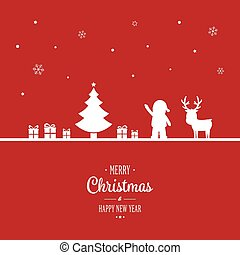 merry christmas ornaments silhouette white red background