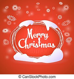 Merry Christmas oval greeting red card
