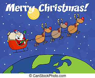 Merry Christmas Over Santa Waving A