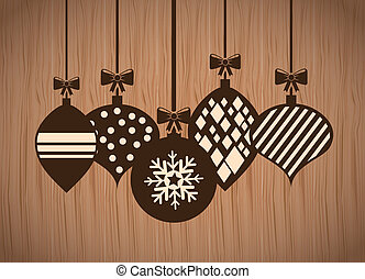 merry christmas over wooden background vector illustration