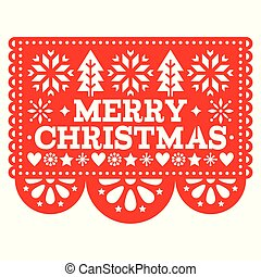 Merry Christmas Papel Picado vector design, Mexican Xmas greeting card, red and white paper decoration pattern