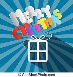 Merry Christmas Paper Gift Box and Title on Retro Blue Background