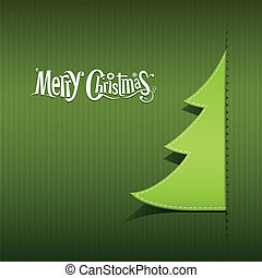 Merry Christmas paper green tree