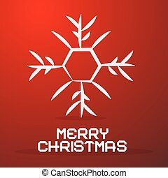 Merry Christmas Paper Title with Abstract Snowflake on Red Background