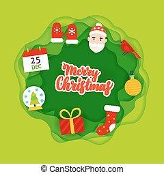 Merry Christmas Papercut Concept. Vector Illustration....