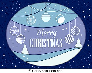 Merry Christmas. Papercut style. Christmas balls. Winter...