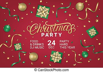 Merry Christmas Party gorizontal poster, flyer, invitation on red background with gift box, shiny golden bow, ribbons, sparkling confetti. Realistic festive style. Vector illustration.