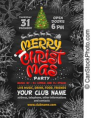 Merry Christmas Party Poster Background With Christmas Tree And Lettering