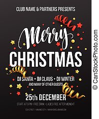 Merry Christmas Party Poster. Vector illustration