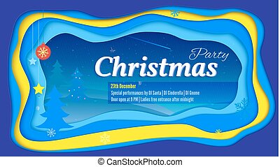 Merry Christmas party poster with lettering and a winter landscape. Realistic multi layers, carving of paper. 3D Illustration for greeting card or banner. Layered cut out shapes with shadow.
