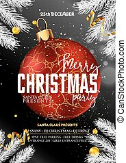 Merry Christmas party promotional poster with decorative...
