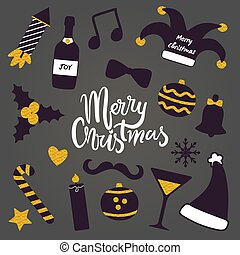 Merry Christmas Party Stuff Vector Illustration