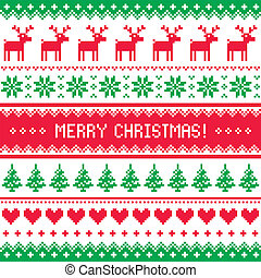 Winter red and green vector background - nordic kntting style