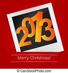 Merry Christmas photo frame on the red background. Vector illustration