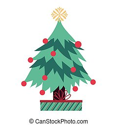 merry christmas pine tree with gift