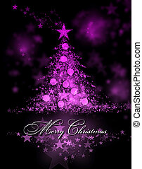 Merry Christmas. Pink background with a christmas tree and Merry Christmas Text