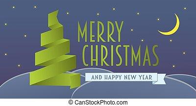 merry christmas, pohled, s, lem, vánoce, kopyto., vektor, eps10, ilustrace