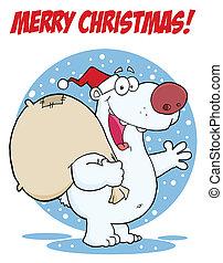 Merry Christmas Polar Santa Bear
