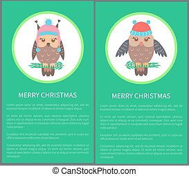 Merry Christmas Postcard 60s Vector Illustration - Merry...