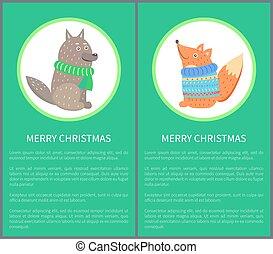 Merry Christmas Postcard 70s Vector Illustration