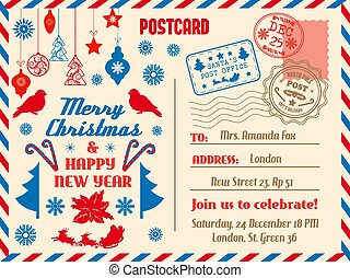 Merry Christmas postcard, holiday vector