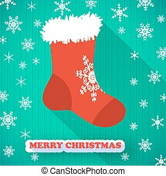 Merry Christmas Postcard - Merry christmas postcard with red...