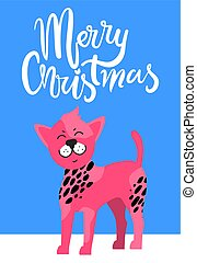 Merry Christmas Postcard with Chinese Crested Dog