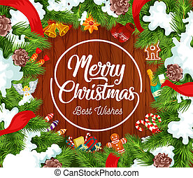 Merry Christmas postcard with fir branches in snow -...