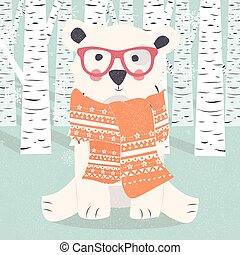 Merry Christmas Postcard With Hipster Polar White Bear In Forest