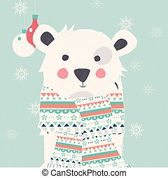 Merry Christmas postcard with polar white bear wearing scarf